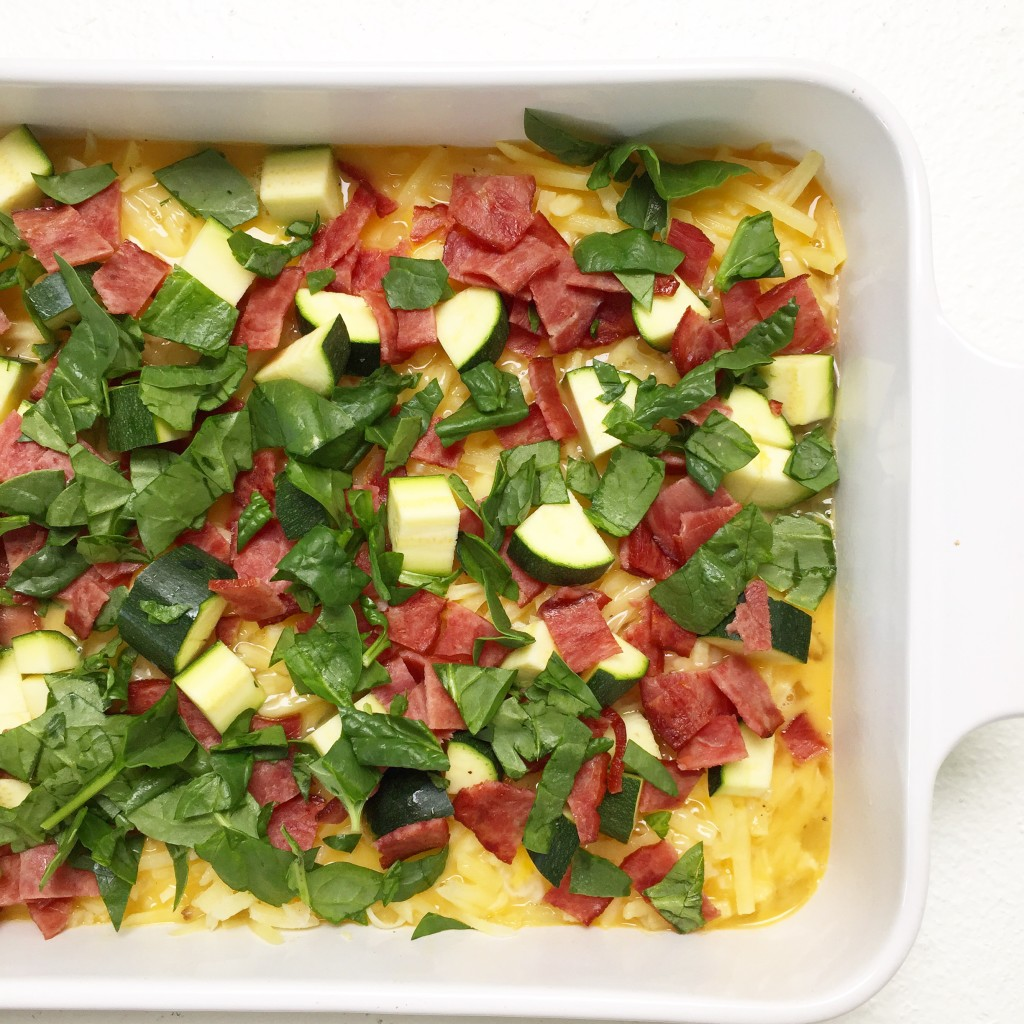 Egg Casserole with zucchini and spinach